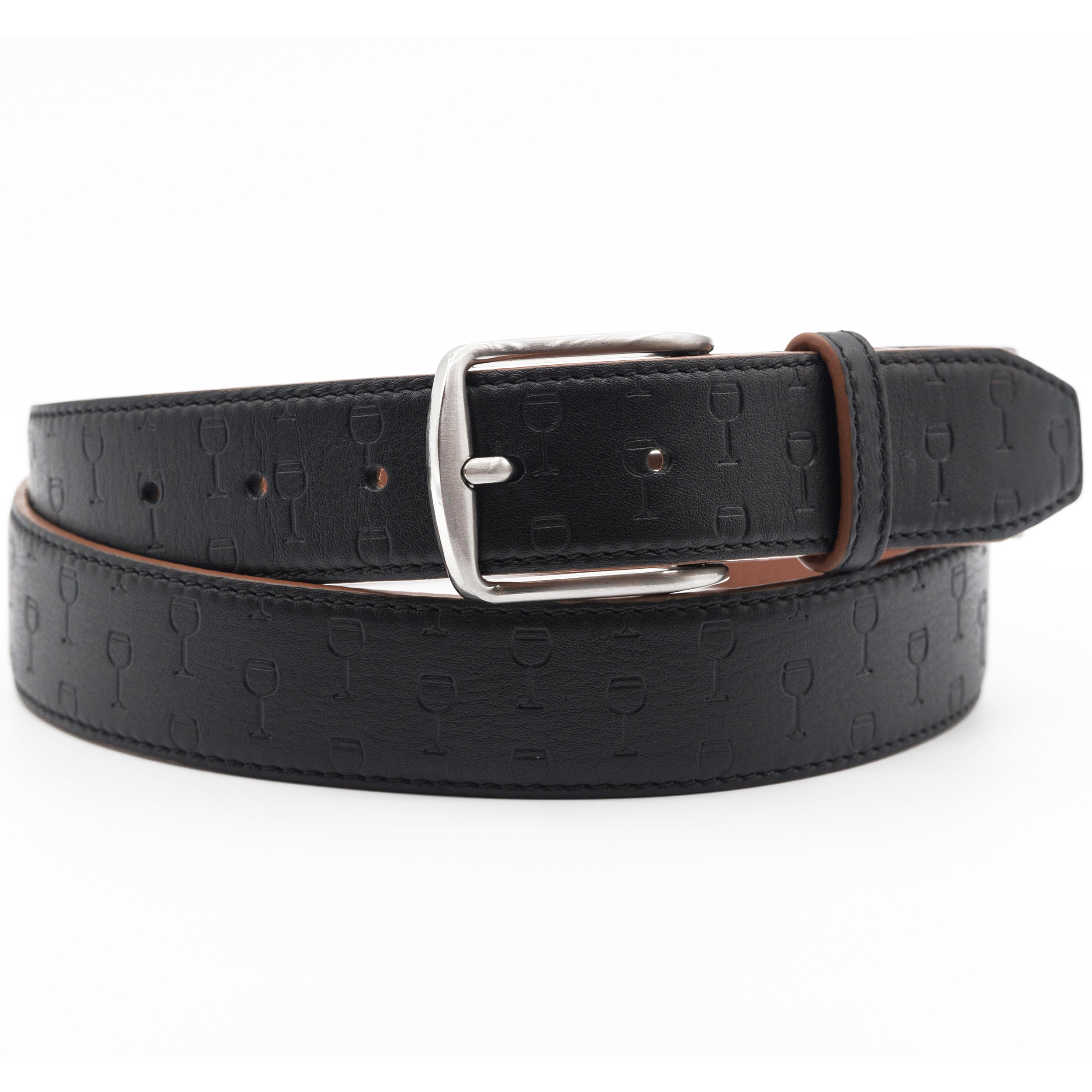 OPTIMISM - Mens Leather Belt with Glass of Wine