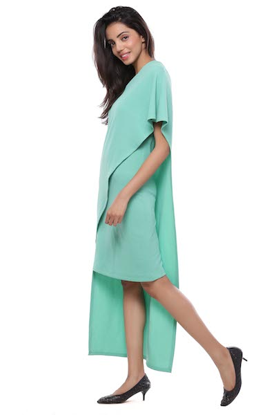 One Shoulder Mint Green Cape Dress