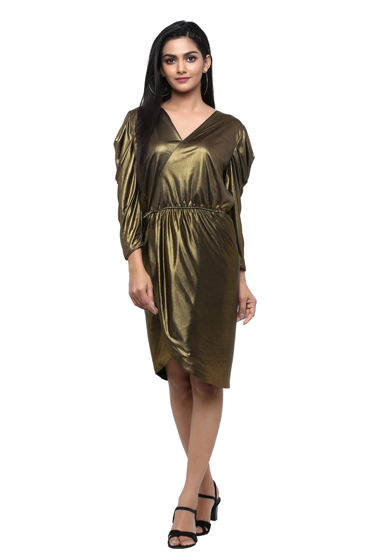 Gold Metallic Puffed Sleeve Dress