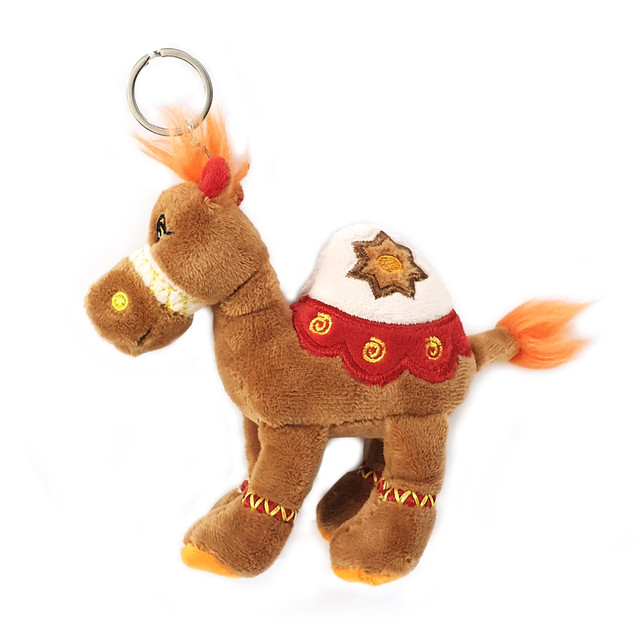 Cuddly soft toy brown camel with bright detailed embroidery with key ring, size 12cm.
