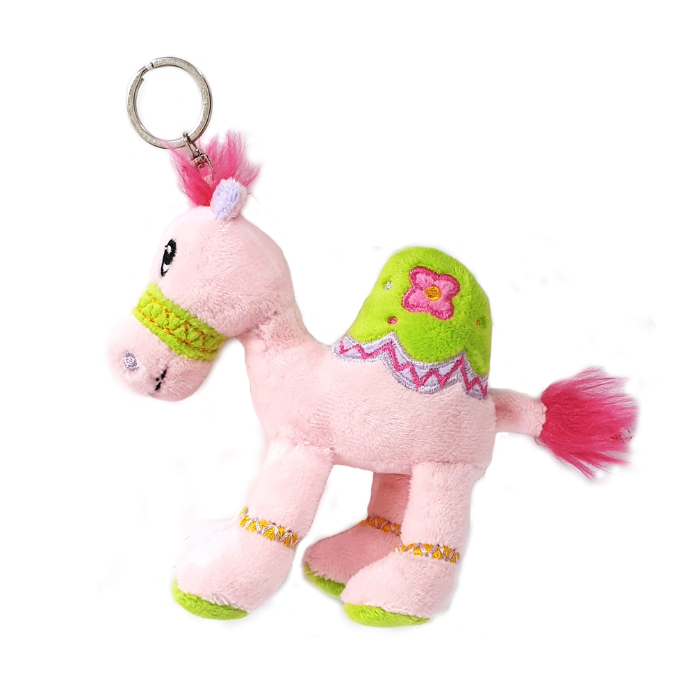Cuddly soft toy pink camel with bright detailed embroidery with key ring, size 12cm.