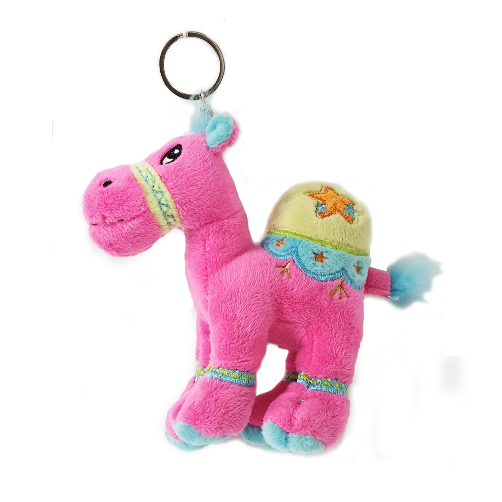 Cuddly soft toy dark pink camel with bright detailed embroidery with key ring, size 12cm.