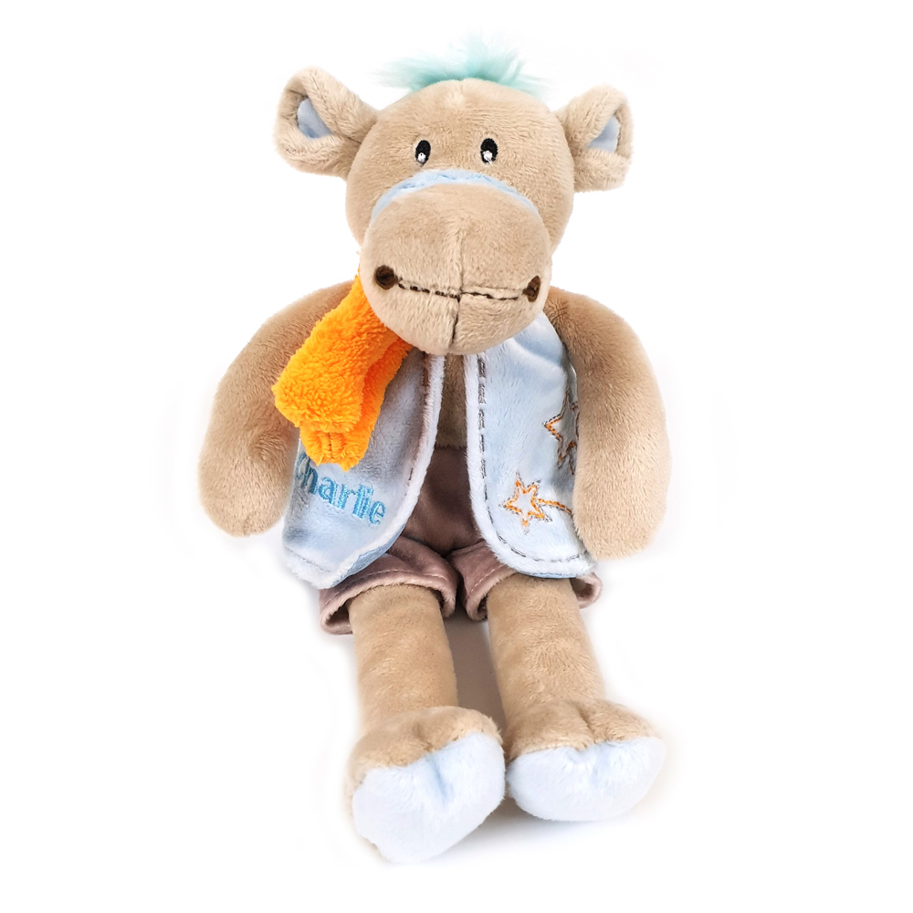 Cuddly soft toy Charlie  camel with blue shorts and waistcoat, size 28cm.