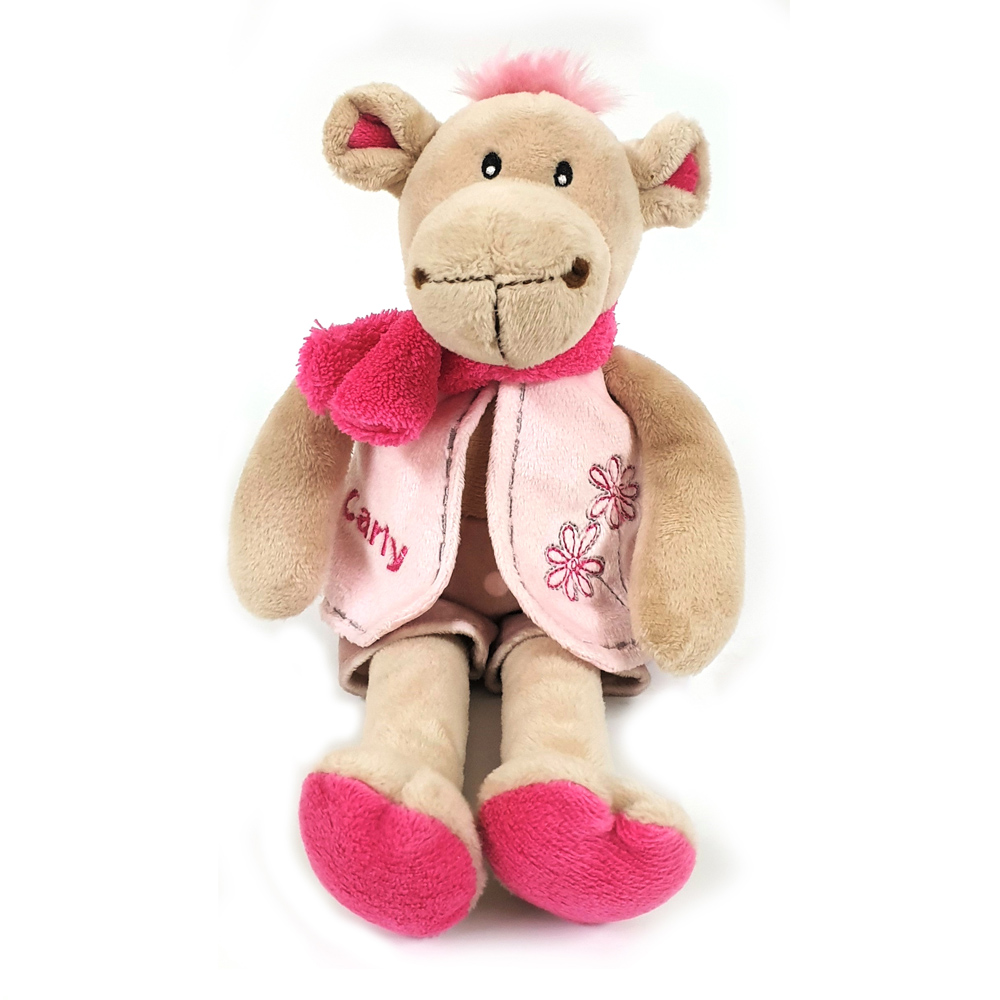 Cuddly soft toy Carly  camel with pink shorts and waistcoat, size 28cm.