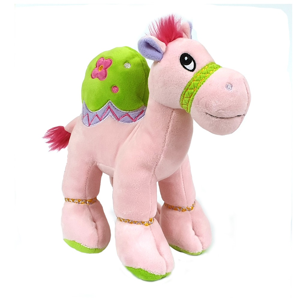 Cuddly soft toy pink camel with bright detailed embroidery, size 18cm.