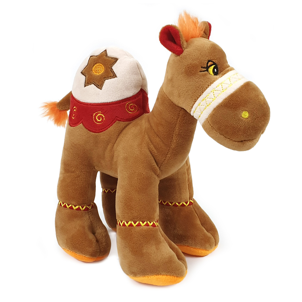 Cuddly soft toy brown camel with bright detailed embroidery, size 18cm.