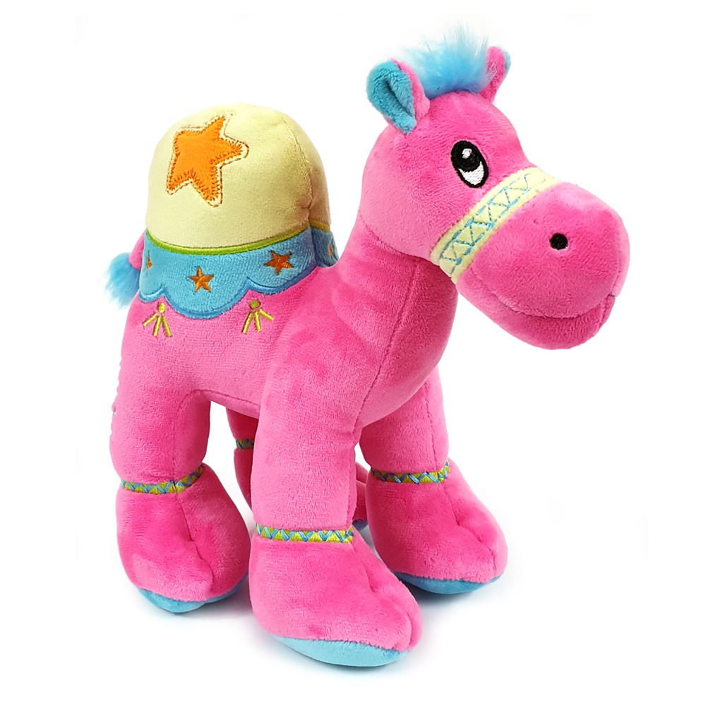Cuddly soft toy dark pink camel with bright detailed embroidery, size 18cm.