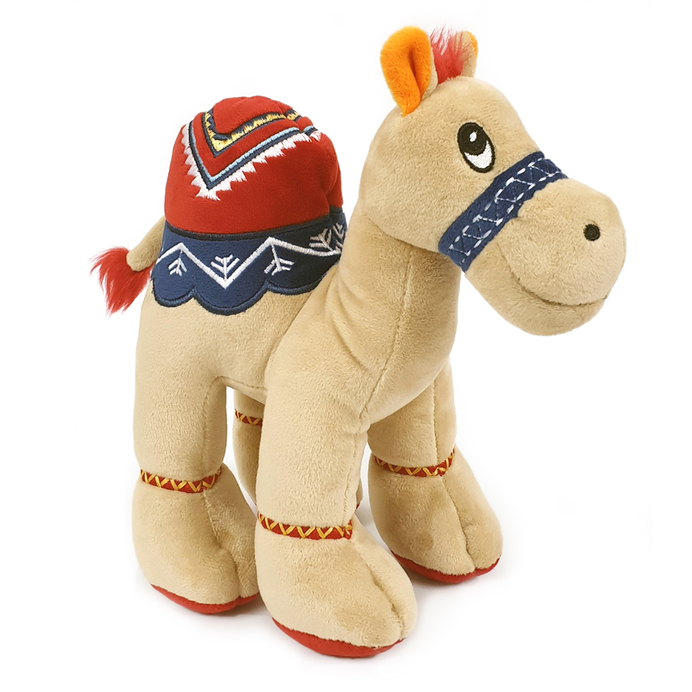 Cuddly beige soft toy camel with bright detailed embroidery, size 18cm.