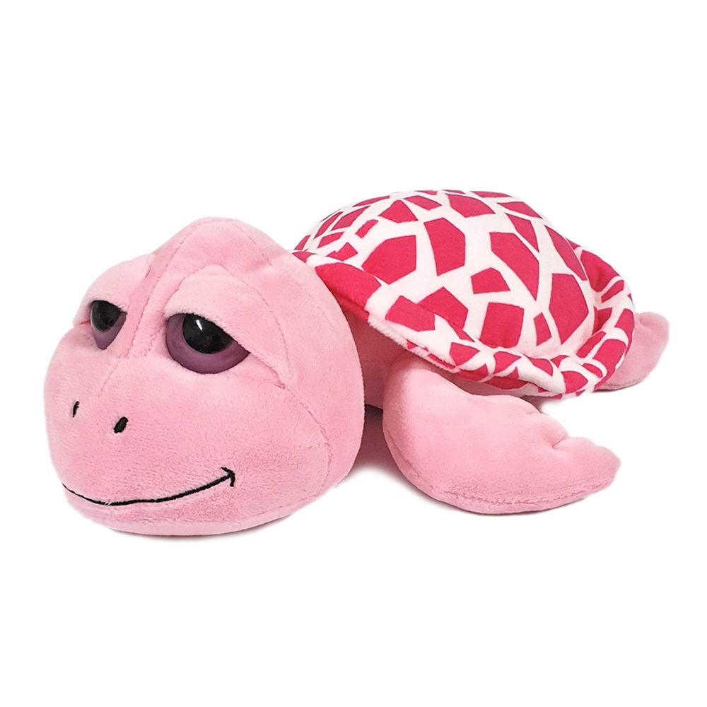 Super soft pink big-eyed turtle with Dubai embroidery, size 14cm.