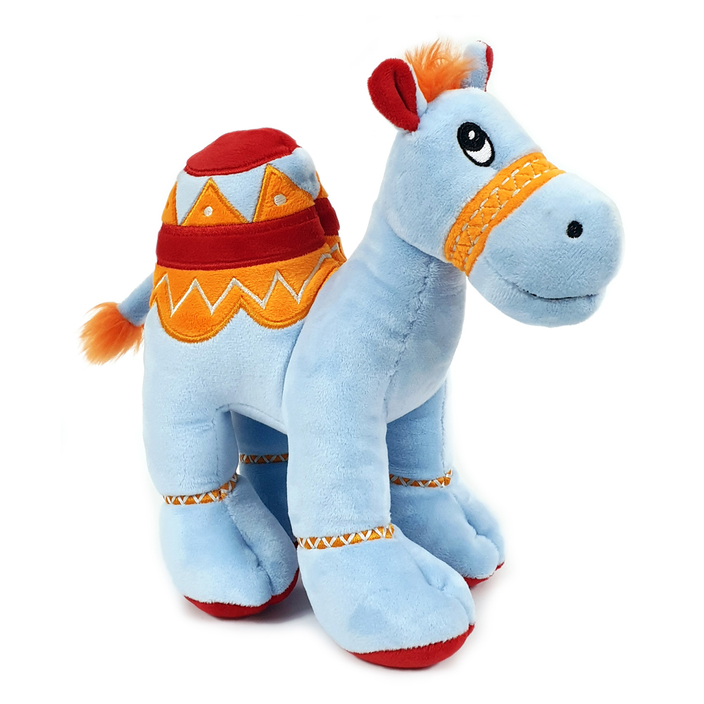 Cuddly soft toy blue camel with bright detailed embroidery, size 25cm.