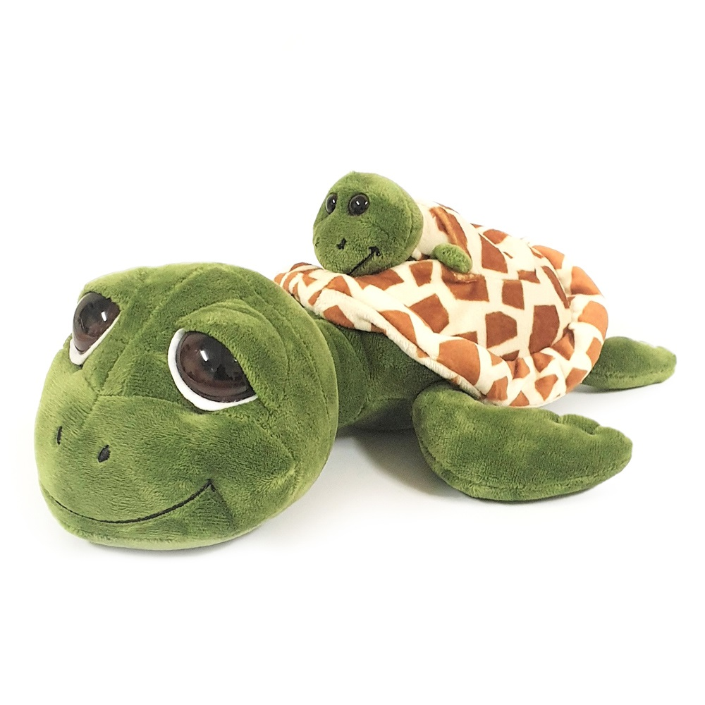 Cute big-eyed  turtle soft toy with miniature baby (with squeaker), size 26cm.