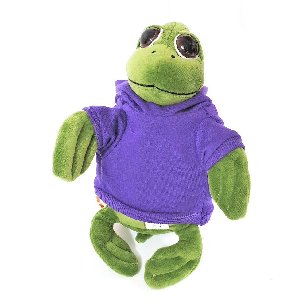 Cuddly soft toy turtle with trendy purple hoodie, size 20cm.