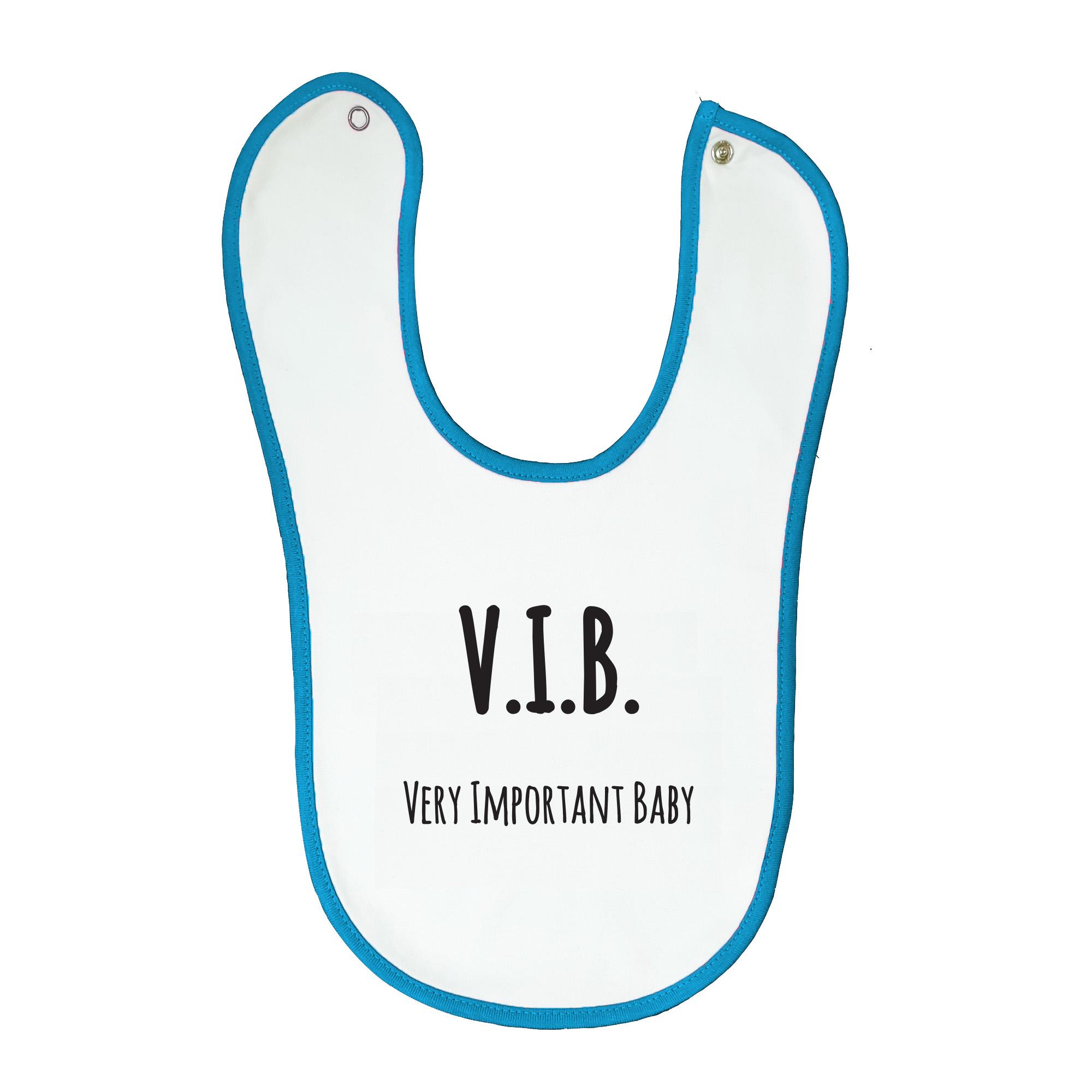 Soft baby bib, white with blue trim, 100% cotton machine washable. Age: 6-12 months. Print: V.I.B. Very Important Baby.