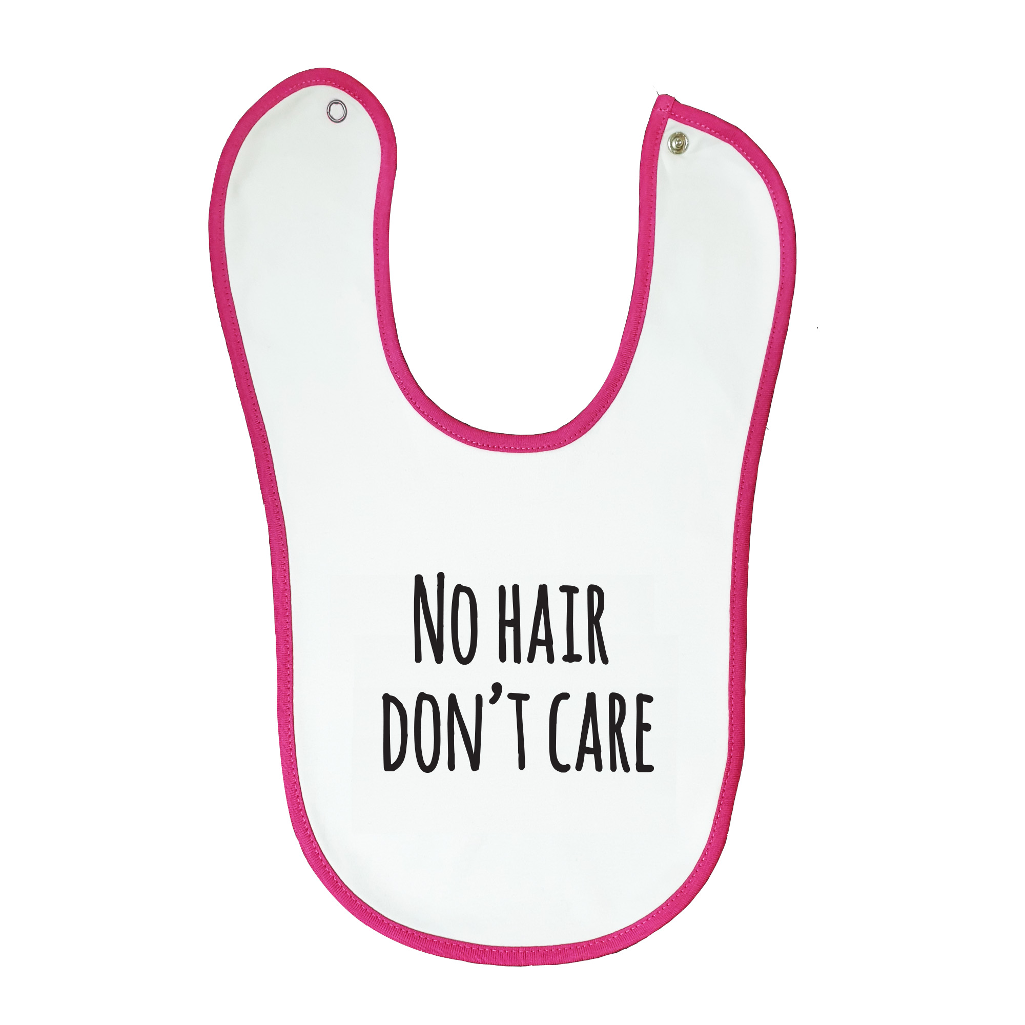 Soft baby bib, white with pink trim, 100% cotton machine washable.Age: 6-12 months.  Print: No Hair Don't Care.