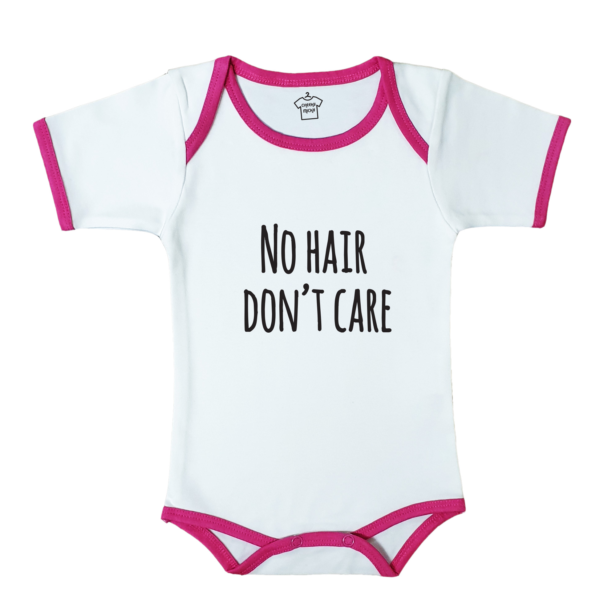 Soft baby body suit with pink trim, 100% cotton, machine washable. Age 6-12 months. Print: No Hair Don't Care.