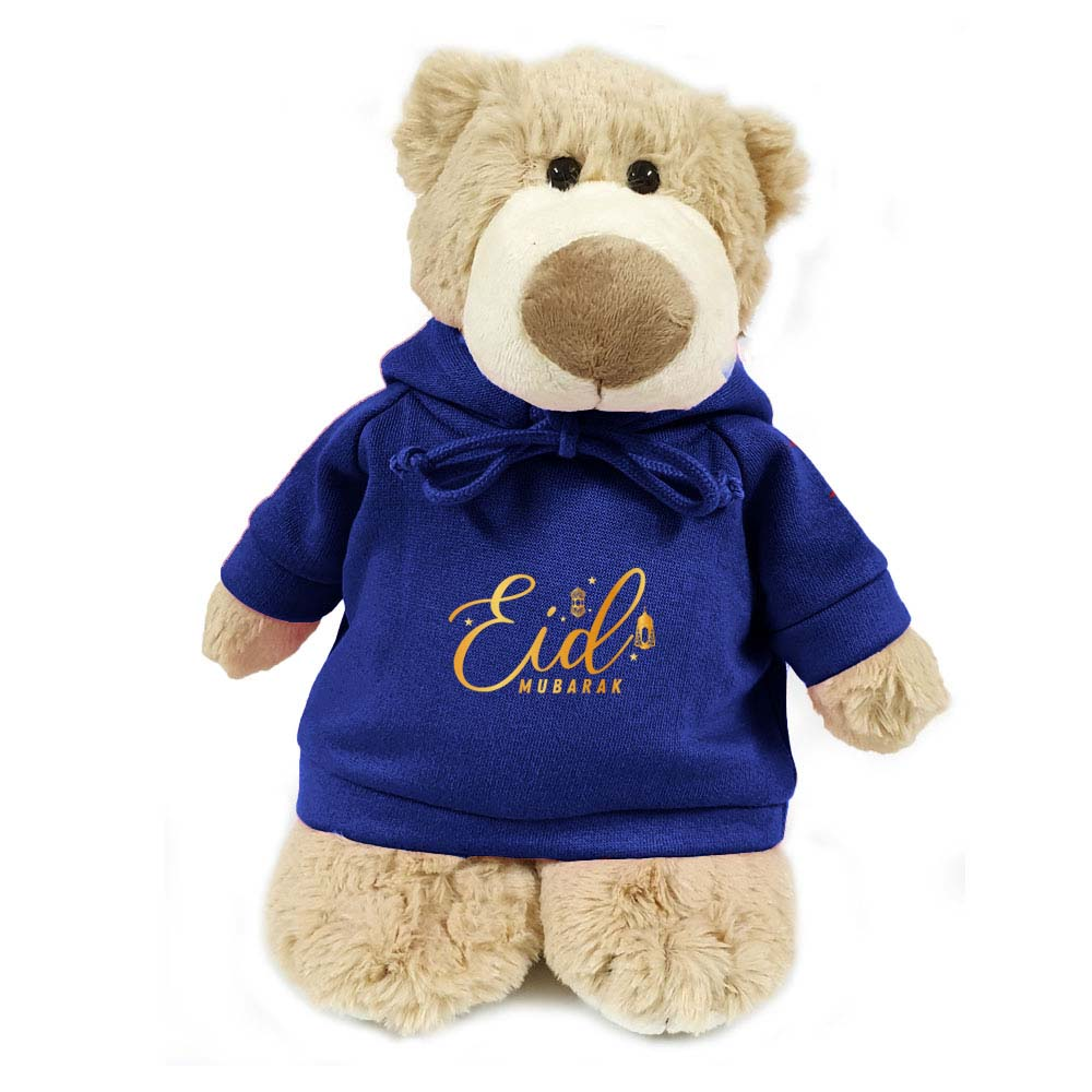Cuddly  Mascot Bear  with Eid Mubarak on Blue  Hoodie size 28cm. Ideal for gifting, boys, girls parties. Soft and huggable.