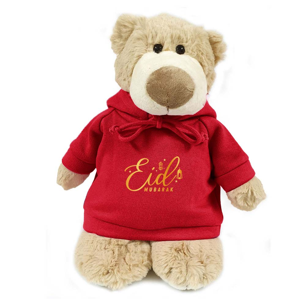 Cuddly  Mascot Bear  with Eid Mubarak on Red  Hoodie size 28cm.