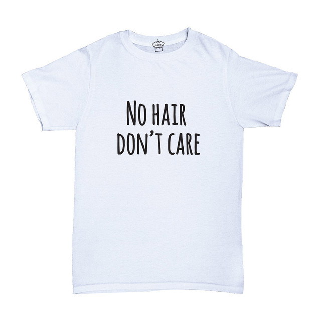 White T-shirt, 100% cotton, machine washable. Age 1-2 years. Print: No Hair Don't Care.