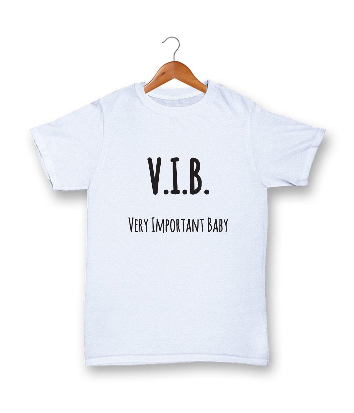 White T-shirt, 100% cotton, machine washable. Age 1-2 years. Print: V.I.B. Very Important Baby.