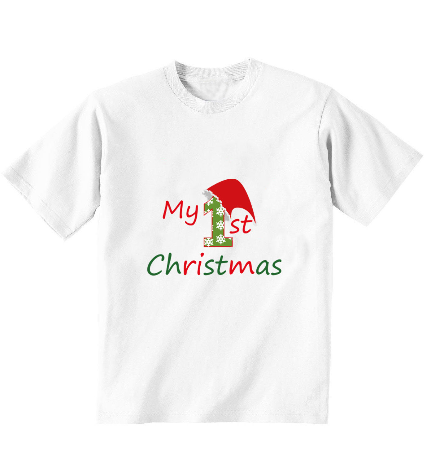 White T-shirt, 100% cotton, machine washable. Age 1-2 years. Print: My 1st Christmas