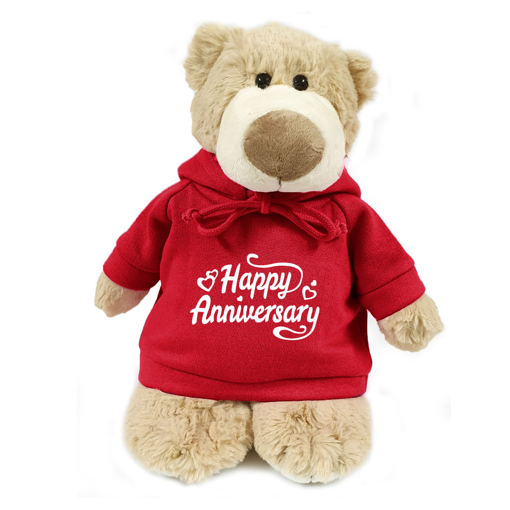 Supersoft, cuddly mascot bear with trendy red hoodie. Happy Anniversary. Size 28cm.