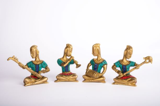 Brass Musical Men - Stone work Set of 4 -B0020007
