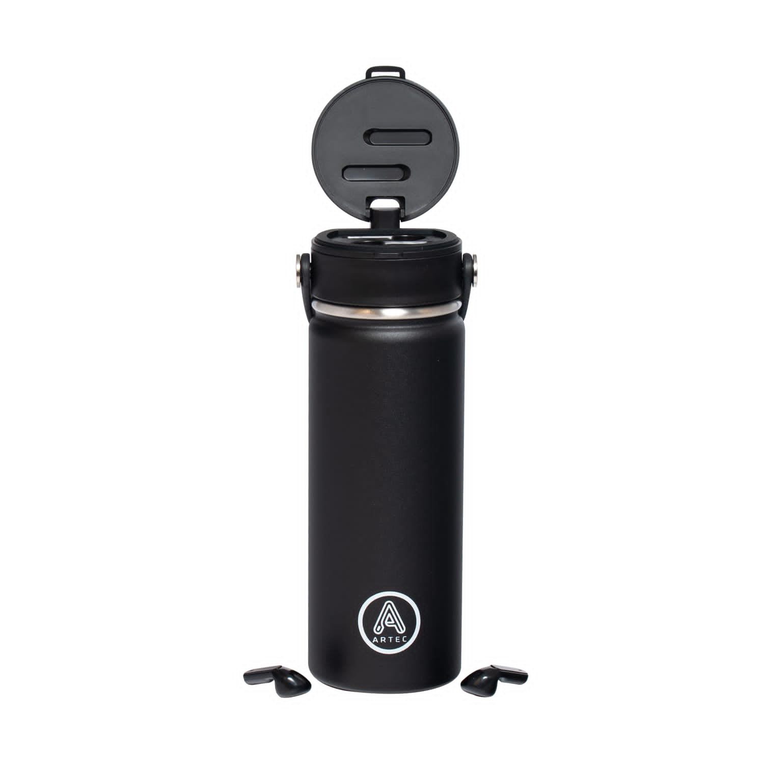 Thermos with TWS airpods integrated.