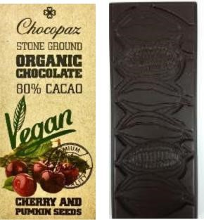 Chocopaz Organic Vegan Chocolate with Cherry and Pumpkin Seed 80% Cacao