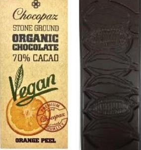 Chocopaz Organic Vegan Chocolate with Orange peel 70% Cacao