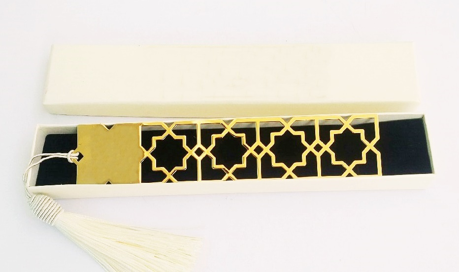 Arabic Geometry Gold Plated Bookmark in Paper Box