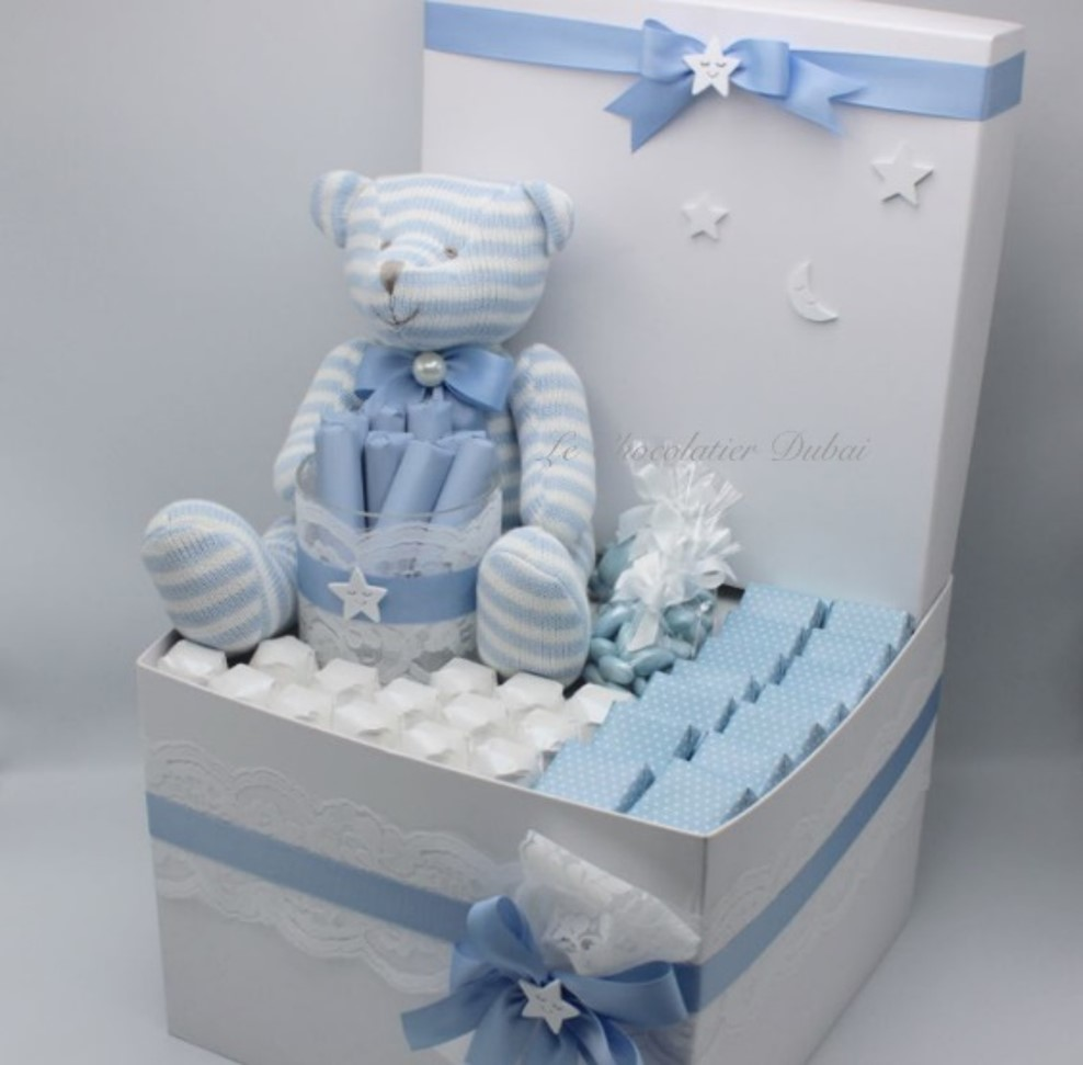 Luxury baby boy stars & moon chocolate & sweets hamper