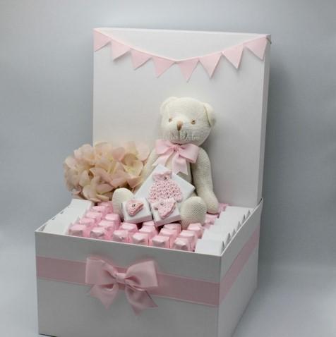 Luxury baby girl teddy and handmade  crochet chocolate & sweets hamper