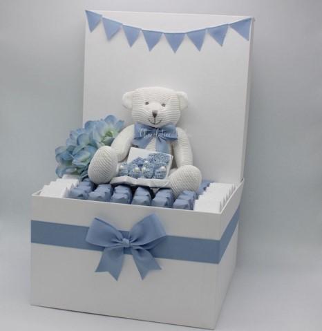 Luxury baby boy teddy and handmade  crochet chocolate & sweets hamper