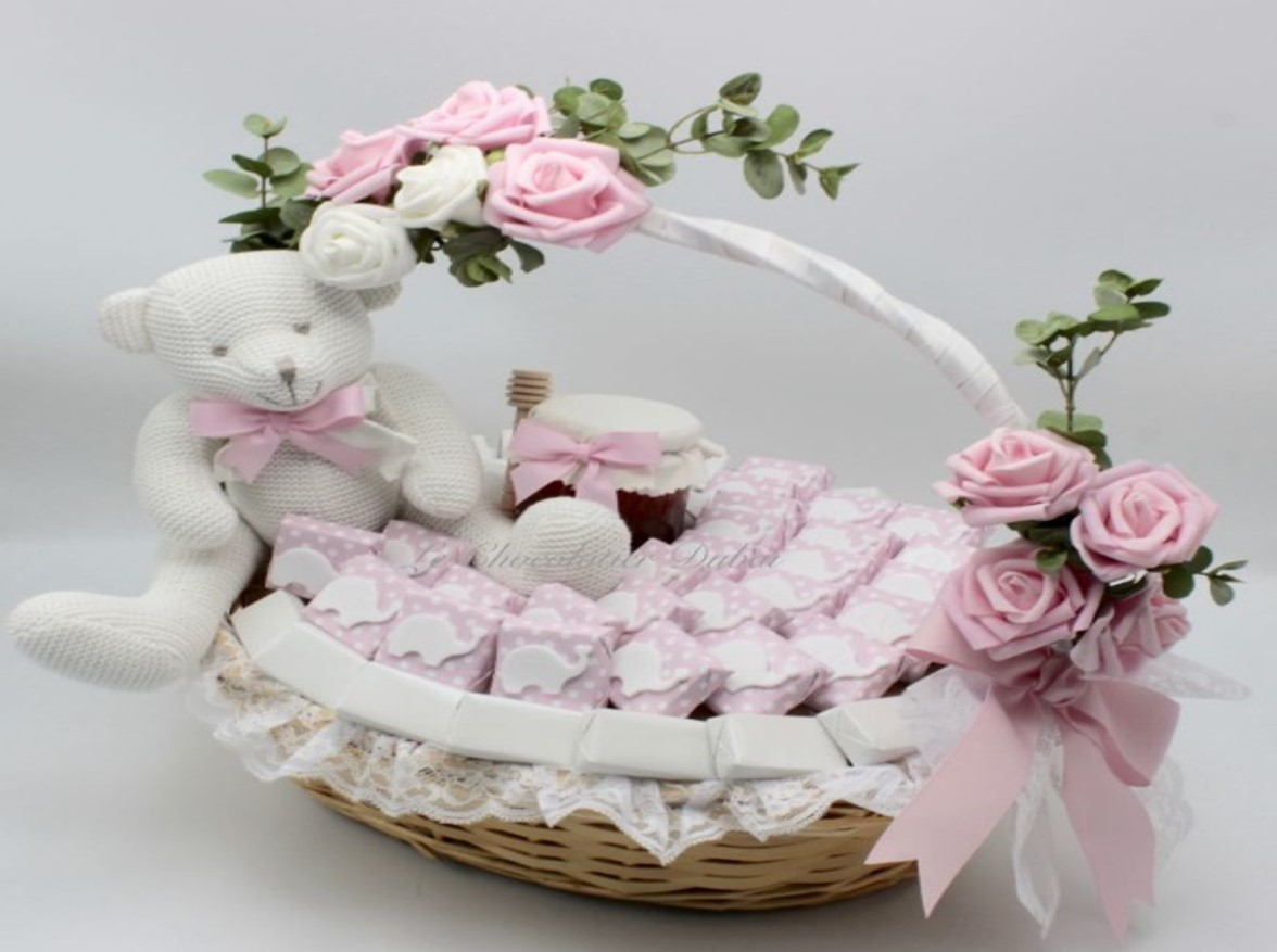 Baby girl teddy elephant & flowers decorated chocolate basket