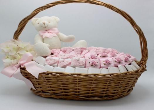 Baby girl teddy handmade crochet decorated chocolate basket