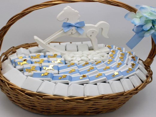 Baby boy carousel horse decorated chocolate basket