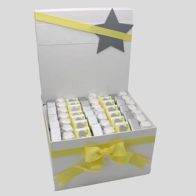 Baby elephant stars decorated chocolate box