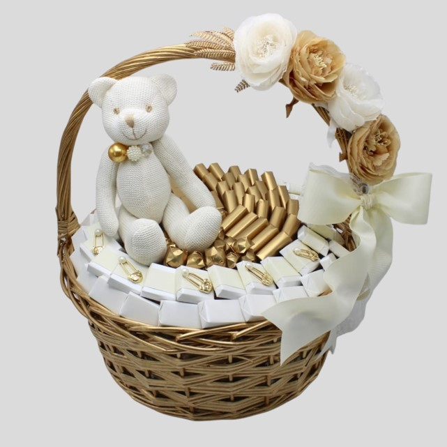 Baby teddy bear floral pin decorated chocolate basket