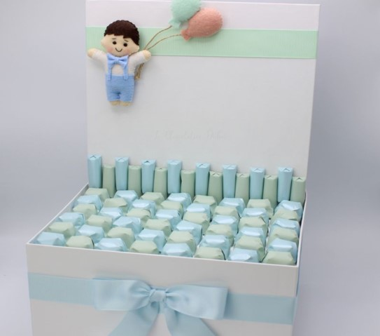 Baby boy with balloonsdecorated chocolate box