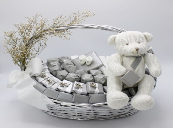 Baby teddy silver pacifier decorated chocolate basket