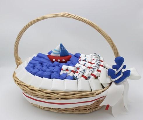 Baby boy nautical decorated chocolate basket