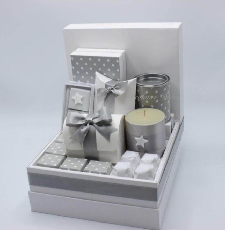 Luxury silver stars chocolate & sweets hamper