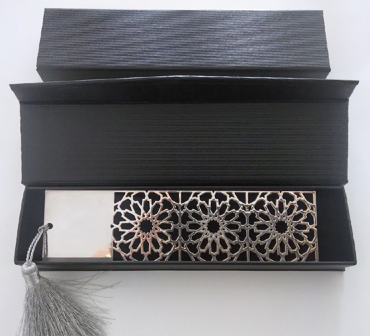 Arabic Geometry Silver Plated Bookmark in Paper Box