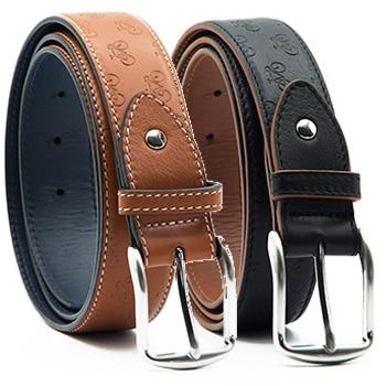 DETERMINATION - Mens Leather Belt with Bike Pattern