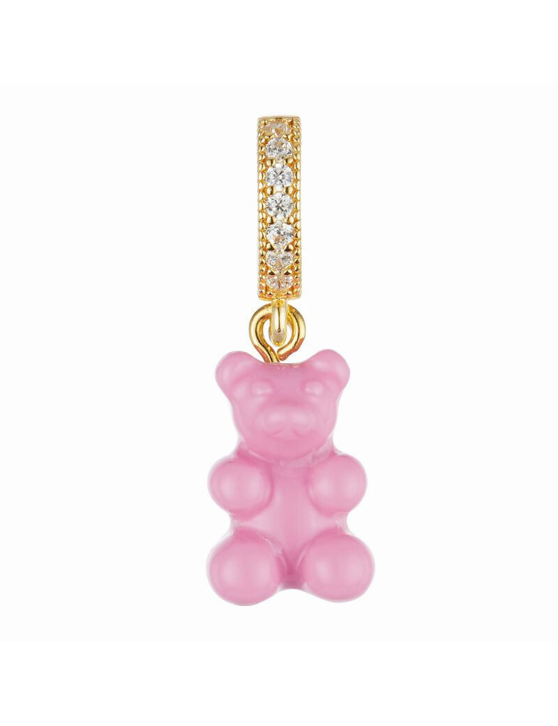 Crystal Haze Nostalgia Bear Pave Connector Pendant - Candy Pink