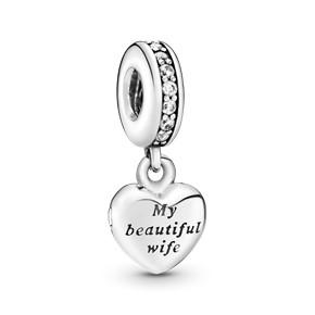 PANDORA My beautiful wife heart silver dangle with cubic zirconia