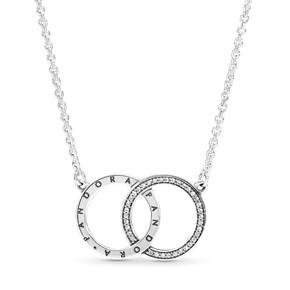 Entwined Circles Pandora Logo & Sparkle Collier Necklace + Pandora Double-sided Polishing Cloth